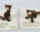 Hagan Renaker, Pair Miniature Ferrets, 1960s, Mini Collection, Ceramic Mini, Made in USA