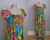 1960s Maxi Dress 60s Psychedelic Floral Print Summer Dress Hawaii / Small