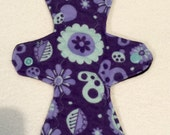 """11"""" moderate purple floral flannel cloth pad"""