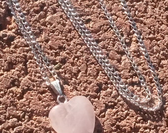 Beautiful Rose Quartz Crystal carved Heart Pendant Necklace charm metaphysical Vintage Pink Mineral Jewelry gift Love