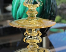Vintage Tiffin Yellow Candle Holders (2)  - Decorated with Juno Etch