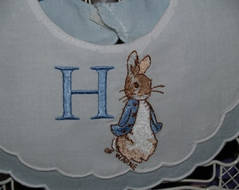Heirloom Peter Rabbit Personalized First Birthday Blue and White Double Scalloped Cotton  Bib