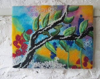 abstract tree felt picture, wet felted tree, textile  wall art.