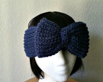 Dark Blue Crochet Big Bow Headband - Ear Warmer - Womens Accessory - Winter Wear - Earwarmer
