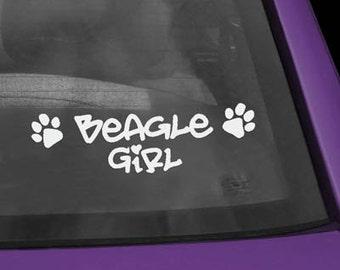 Beagle Girl Vinyl Decal