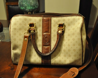 Pollini Cream monogram Docter's Bag with Brown Leather
