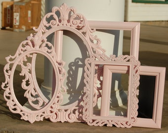 Set Of 5 Shabby Chic Picture Frames/Nursery Frame Collection/Baby Girl PICTURE FRAME Set