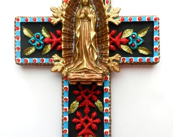 CROSS Our Lady of Guadalupe found object mixed media wall decor religious art folk art cross