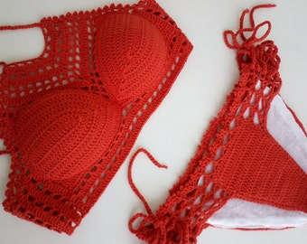 Burnt orange Crochet Bikini top and brazilian bottom,Lace Swimwear,Swimsuit, Sexy crochet beach wear,Crochet top and bottoms