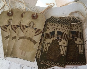 Americana 4th of July Hang Tags