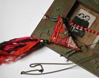 """Ethnique textile pendant """"sun set"""""""