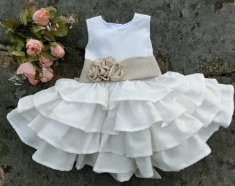 Baby flower girl dress. White baby dress. Girls christening dress, baptism dress. Infant flower girl. Baby ruffle dress, baby linen dress