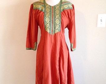 Vintage 1980s Ethnic Indian or Pakistani Dress Tribal Hippie Boho Size Medium