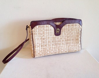 Vintage Etienne Aigner Woven Straw and Leather Slim Purse Clutch
