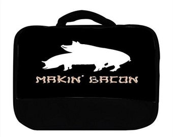 Makin Making Bacon Pig Print Canvas Lunch Bag, 9999s70
