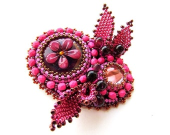 Beadwork Pink Brooch Fuchsia Brooch Bead Embroidered Flower Brooch Embroidery Hot Pink Jewelry 3D Brooch OOAK Ready to ship