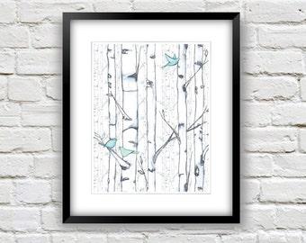 Birch Trees Painting - 8x10 Art Print - Watercolor Trees Print - Birch Tree  Print - Blue and White Home Decor