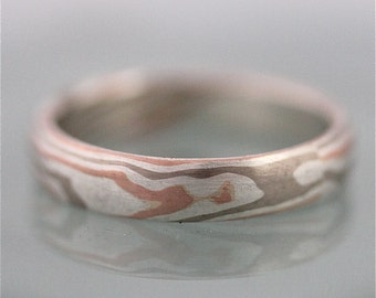 Mokume Gane Wedding Ring 14k Rose Gold 14k Palladium White Gold and Sterling Silver 5mm Woodgrain Faux Bois Eco Friendly Recycled Gold