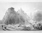 SLOVAKIA Trencin Town & Castle Slovak Republic Trentschin Trencseny - SCARCE ca 140 Years Old Vintage Antique Print