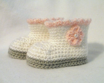Crochet Baby Booties White Pink & Gray Baby Booties Crochet Baby Boots Pink Baby Girl Boots Baby Girl Booties Pink White and Grey Baby Boots