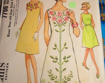 1965 Vintage McCalls A Line Dress with Cross Stitch Transfers: Pattern 7766 Bust Size 38