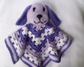 Puppy Blanket Toy // Crochet Puppy Lovey // Crochet Purple Puppy Blanket Toy // Crochet Puppy Snuggle Buddy // Crochet Security Blanket