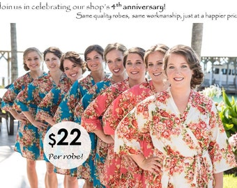 Bridesmaid Robes. Bridesmaid Gifts. Set of 8 cotton kimono style robes. Dressing robes. Getting ready robes for photos. Morning of wedding.