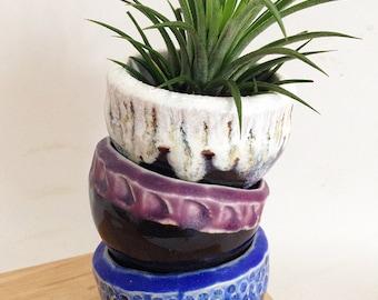 Colorful Ceramic Plant Pots,- Set of  three-