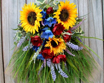 Tuscan Italy-French Country Floral Swag Wreath, Tuscan Floral Arrangement Wall Art, Sunflower and Poppy Wreath, Summer Floral lavender swag,