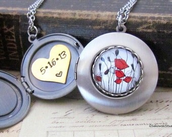 Personalized Red Poppy Locket Necklace, Custom Hand Stamped Brushed Antique Silver Poppy Flower Locket Necklace