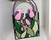 Handmade Plastic Canvas Stained Glass Tulip Gift Bag