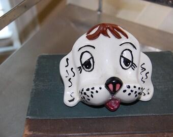 Doggy face eye glass holder!   porcelain, handmade, arner