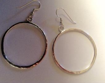 Sterling Silver Hoop Earrings Handmade Silver Dangle Earrings Large silver hoops Hammered Silver Hoop Earrings large silver hoop earrings