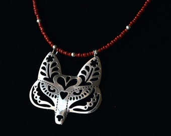 Beaded Flower Fox / Wolf Filigree Necklace, With Thin Red Beaded Cord