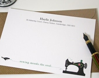 Sewing Quote Correspondence Cards - Sewing mends the soul note cards - Black sewing machine note cards