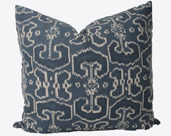Decorative Designer Lacefield Bengali Indian Blue, Indigo Ikat, 18x18, 20x20, 22x22 or Lumbar Throw Pillow