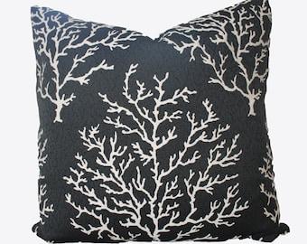 Decorative Designer Coral Black Licorice, Jacquard Tapestry, 20x20, 22x22, 24x24 or Lumbar Throw Pillow
