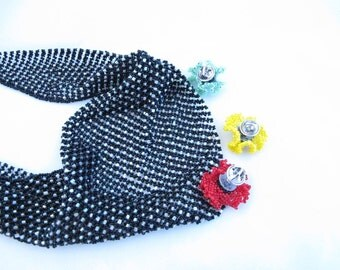 Necklace-Scarf-Bead netting-black seed beads-crystal seed beads-changable beaded flowers-beaded kerchief-beaded netting-beaded flowers
