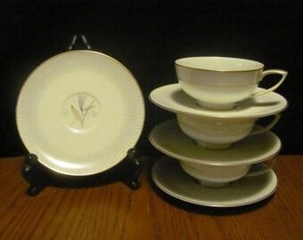 Atomic Noritake Tea Cups Saucers Clinton Pattern Mid Century