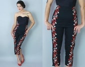 RESERVED | 1950s Toreador cigarette pants | vintage 50s black matador capris with red & white floral embroidery | xs