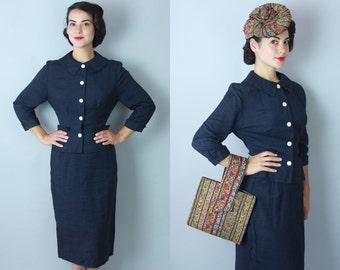 1950s Nightfall suit | vintage 50s midnight blue summer suit | small