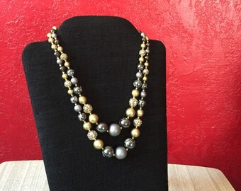 Layered Vintage Beaded Necklace with Cluster Clasp