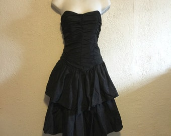 Strapless Black Taffeta Party Dress with Layered Skirt
