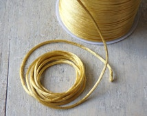 10 yards Satin rattail cord in yellow gold - 2mm satin cord for macrame, jewelry, decorations, gold satin rattail cord, gold cord