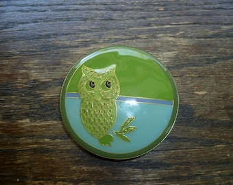 Owl Belt Buckle, Enamel Belt Buckle, Brass Belt Buckle, Blue and Green, Vintage Belt Buckle