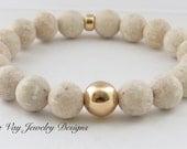 Matte Ivory River Stone  Bracelet Gold Fill Bracelet Boho Bracelet