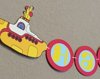 Yellow Submarine Beatles Inspired Party Banner  Yellow Submarine Baby Shower Yellow Submarine Nursery