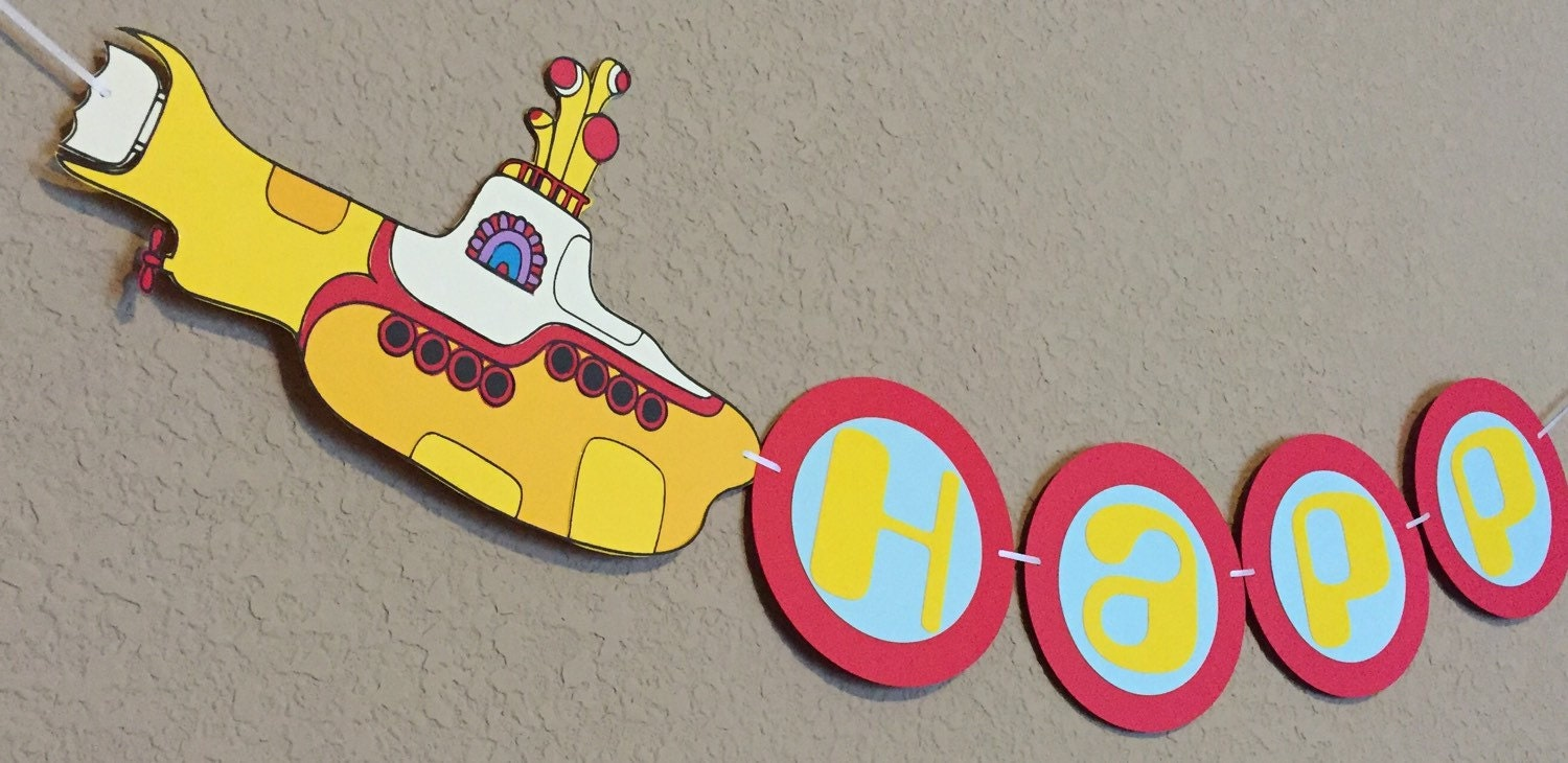 yellow submarine beatles inspired party banner yellow
