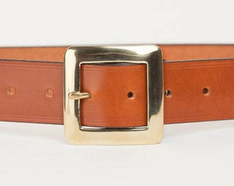 Tan Bridle Leather Belt with 1.5 inch Square Buckle