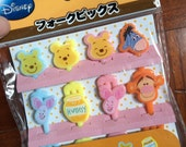 A Set of 8pcs Cute Japanese Disney Food Fork/ Cake Toppers- Winnie the Pooh and Friends